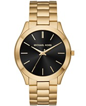 2a4d00821a Michael Kors Men s Slim Runway Gold-Tone Stainless Steel Bracelet Watch 44mm