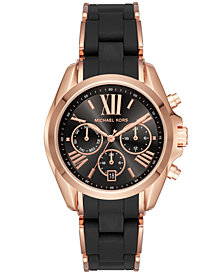 Michael Kors Women's Bradshaw Chronograph Rose Gold-Tone Stainless Steel & Black Silicone Bracelet Watch 40mm