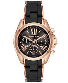 Michael Kors Women's Bradshaw Chronograph Rose Gold-Tone Stainless Steel & Black Silicone Bracelet Watch 40mm