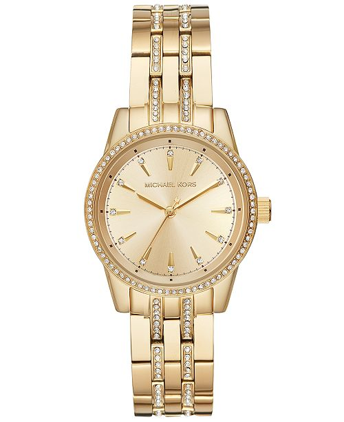 785900714 Michael Kors Women's Mini Ritz Gold-Tone Stainless Steel Bracelet Watch  33mm, Created for ...