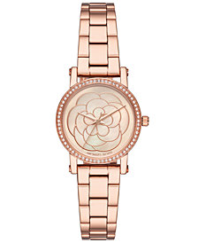 Michael Kors Women's Petite Norie Rose Gold-Tone Stainless Steel Bracelet Watch 28mm