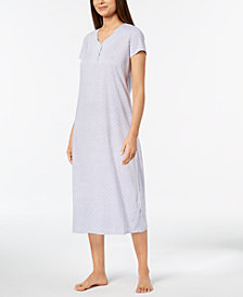 Charter Club Dotted Cotton Nightgown, Created for Macy's