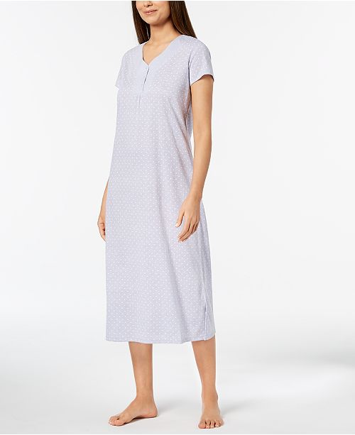 Macy's Club Nightgown Chambray Dot Lilac Cotton Created for Dotted Charter t67WYwqSS
