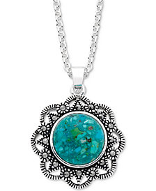 "Marcasite & Manufactured Turquoise Filigree 18"" Pendant Necklace in Fine Silver-Plate"