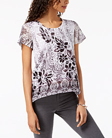 JM Collection Petite Embellished Printed Flutter-Sleeve Top, Created for Macy's