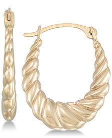 Oval Twist-Look Hoop Earrings in 10k Gold