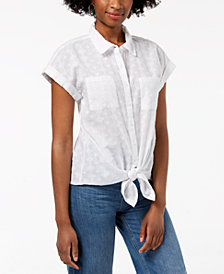 Style & Co Cotton Tie-Front Top, Created for Macy's