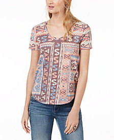Lucky Brand Geo-Print Scoop-Neck T-Shirt