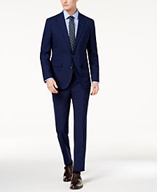 Cole Haan Men's Grand.OS Wearable Technology Slim-Fit Stretch Modern Blue Solid Suit Separates