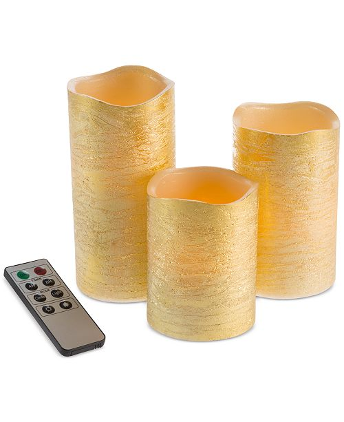 Trademark Global 4-Pc. Distressed Flameless LED Candles & Remote Control Set