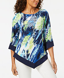 Alfred Dunner Petite Removable-Necklace V-Hem Top