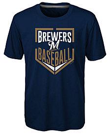 Outerstuff Milwaukee Brewers Run Scored Poly T-Shirt, Big Boys (8-20)