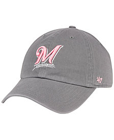 '47 Brand Milwaukee Brewers Dark Gray Pink CLEAN UP Cap