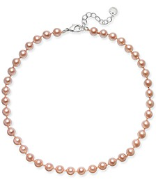 Silver-Tone Pink Imitation Pearl (8mm) Collar Necklace, Created for Macy's