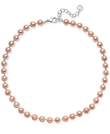 Charter Club Silver-Tone Pink Imitation Pearl (8mm) Collar Necklace, Created for Macy's