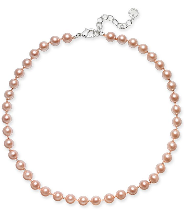 Charter Club - Silver-Tone Pink Imitation Pearl (8mm) Collar Necklace