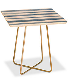 Deny Designs Kelly Haines Blue Watercolor Stripes Square Side Table