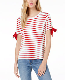Maison Jules Striped Tie-Sleeve T-Shirt, Created for Macy's