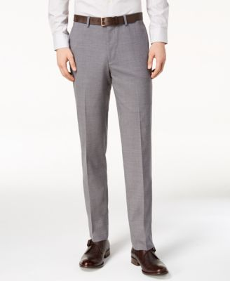Men's Grand.OS Wearable Technology Slim-Fit Stretch Light Gray Solid Suit Pants