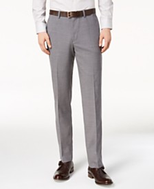 Cole Haan Men's Grand.OS Wearable Technology Slim-Fit Stretch Light Gray Solid Suit Pants