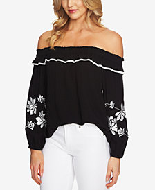 CeCe Off-The-Shoulder Embroidered Top