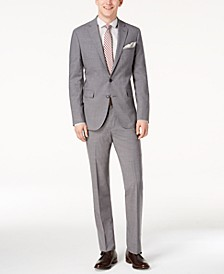 Men's Grand.OS Wearable Technology Slim-Fit Stretch Light Gray Solid Suit Separates
