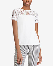 Lauren Ralph Lauren Lace-Yoke Top