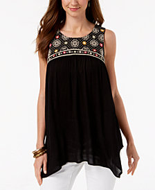 Style & Co Embroidered Handkerchief-Hem Tunic, Created for Macy's