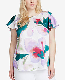 RACHEL Rachel Roy Trendy Plus Size Printed Flutter-Sleeve Top