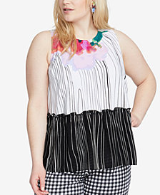RACHEL Rachel Roy Trendy Plus Size Printed Tie-Back Tank