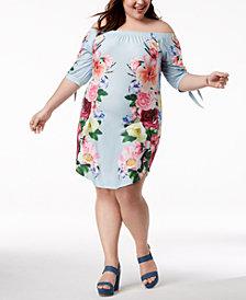 Planet Gold Trendy Plus Size Floral-Print Off-The-Shoulder Dress