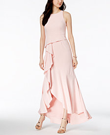 Adrianna Papell Sleeveless Cascading Gown, Regular & Petite