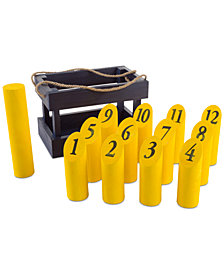 Wooden Throwing Game-Complete Set, 12 Numbered Pins, Throwing Dowel, Carrying Crate-Outdoor Lawn Games For Adults and Kids by Hey! Play!
