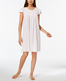 Miss Elaine Flutter-Sleeve Lace-Trim Nightgown