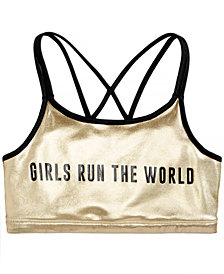 Ideology Big Girls Plus Graphic-Print Strappy-Back Sports Bra, Created for Macy's
