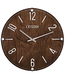Citizen Gallery Wood & Leather Wall Clock