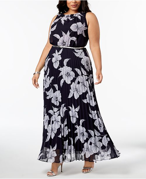 Jessica Howard Plus Size Pleated Belted Maxi Dress Dresses Women
