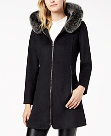 Fox-Fur-Trimmed Hooded Walker Coat