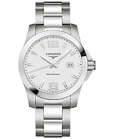 Longines Men's Swiss Conquest Stainless Steel Bracelet Watch 41mm