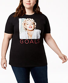 Hybrid Plus Size Cotton Marilyn Monroe Graphic T-Shirt