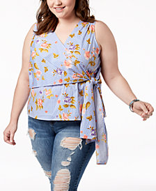 Say What? Trendy Plus Size Sleeveless Faux-Wrap Top