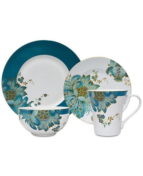 222 Fifth Eliza Teal 16 Pc Dinnerware Set Service For 4 Reviews