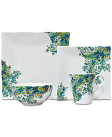 222 Fifth Surya Teal 16-Pc. Dinnerware Set, Service for 4