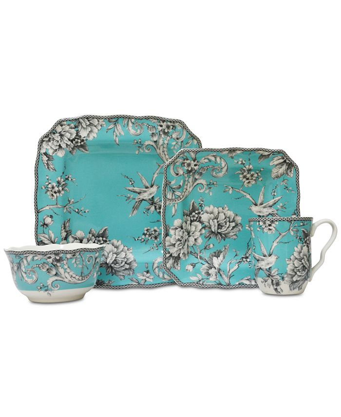 222 Fifth - Adelaide Turquoise 16-Pc. Dinnerware Set, Service for 4