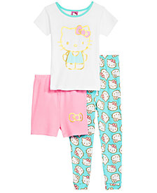 Hello Kitty 3-Pc. Cotton Pajama Set, Little & Big Girls, Created for Macy's