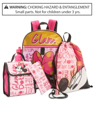Disneys Minnie Mouse 5Pc Backpack  Accessories Set Little  Big Girls