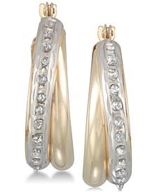 Diamond Accent Double Interlocking Hoop Earrings in 10k Gold