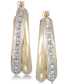 Diamond Fascination Diamond Accent Double Interlocking Hoop Earrings in 10k Gold