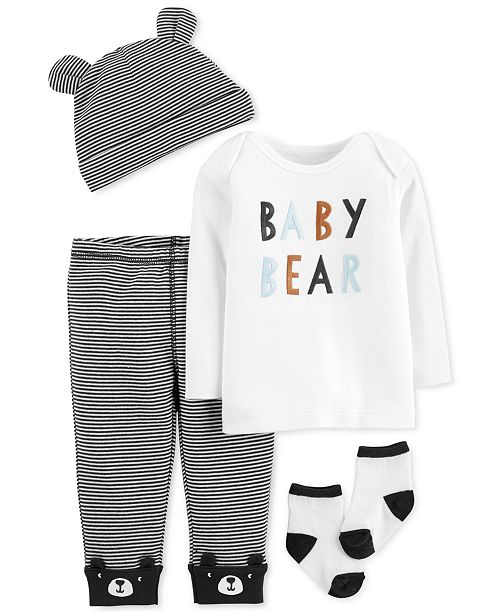 0afbd69df Carter's Baby Boys 4-Pc. Hat, Baby Bear T-Shirt, Pants & Socks Set ...