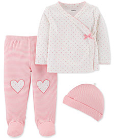 Carter's Baby Girls 3-Pc. Cotton Cardigan, Pants & Hat Set